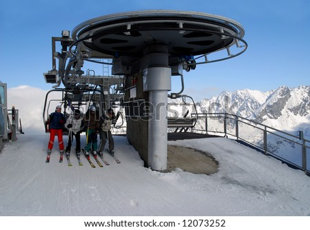 Kasprowy Mountain ski resort - chair-lift in a valley of Gasienicowa (Tatra Mountains, Zakopane, Poland)