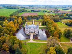 Kasteel van Poeke (The Castle of Poeke) is a castle at Poeke, a part of Aalter city in the Belgian province of East Flanders, Belgium. Arial photo of a medieval castle