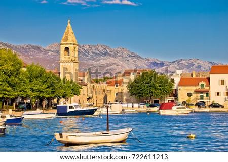 Kastel Sucurac street historic waterfront view, Split region of Dalmatia, Croatia