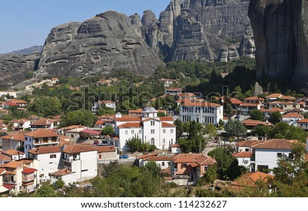 Kastraki village at Kalambaka city in Greece below the Meteora rocks