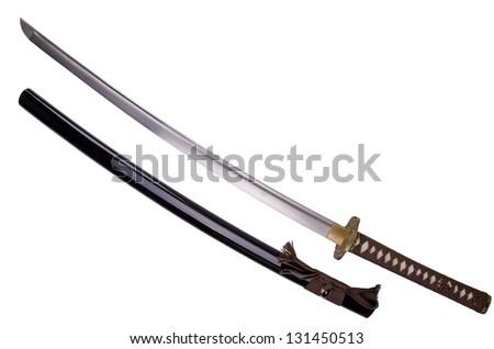 Katana, japanese sword,  isolated on white background.
