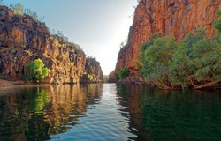 Katherine Gorge on an early morning boat trip up the river,  Amazing cliffs and scenery, Northern Territory, Central Australia.