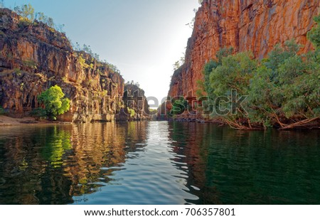 Katherine Gorge on an early morning boat trip up the river,  Amazing cliffs and scenery. Northern Territory, Central Australia.