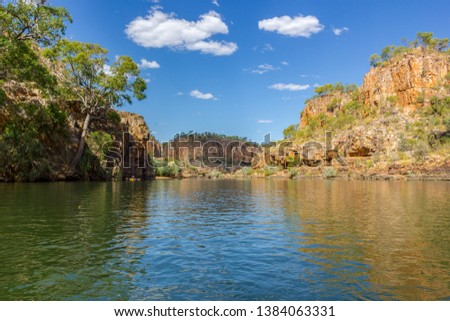 Katherine Gorge on an early morning cruise up the river with wonder reflections and beautiful scenery, Northern Territory, Central Australia. #1384063331
