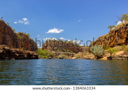 Katherine Gorge on an early morning cruise up the river with wonder reflections and beautiful scenery, Northern Territory, Central Australia. #1384063334