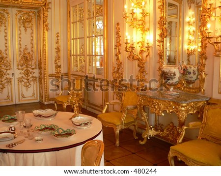 Katherine's Palace dining room in Tsarskoe Selo (Pushkin), Russia