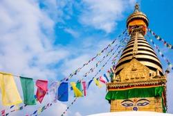 Kathesimbhu Stupa with Buddha eyes and prayer colorful flags in Kathmandu, Nepal