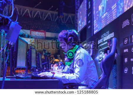 KATOWICE, POLAND - JANUARY 19: Park Shy Sang-myeon from Azubu Frost at Intel Extreme Masters 2013 - Electronic Sports World Cup on January 19, 2013 in Katowice, Silesia, Poland. - stock photo