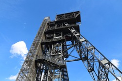 Katowice, Poland - retro industrial coal mine shaft tower. Upper Silesia region.