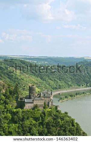 Katz Castle (German: Burg Katz), magnificent castle above the German town of St. Goarshausen in Rhineland-Palatinate, and river Rhien