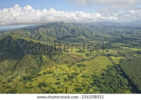 kauai hawaii island mountains and canyon aerial view from helicopter #256108051