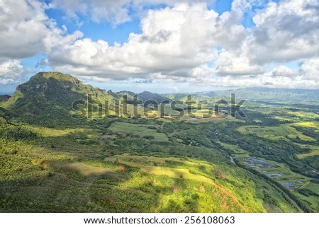 kauai hawaii island mountains and canyon aerial view from helicopter #256108063