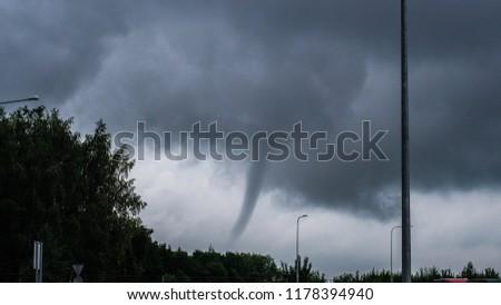 Kaunas, Lithuania - 08 20 2017: Small tornado. Whirlwind. Hurricane. Storm