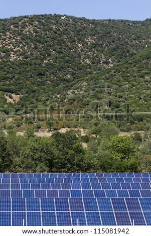 KAVALA,GREECE - AUG,20: Photovoltaic panels solar field on August 20, 2012 in Kavala, Greece.