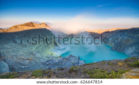 Kawa Ijen Volcano and lake in sunrise View at Indonesia #626647814