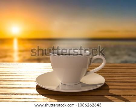 kawa o wschodzie s?o?ca Zdjęcia stock ©