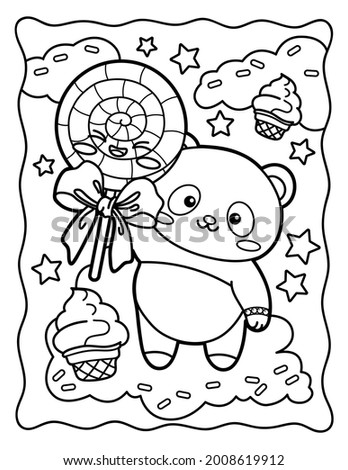 Kawaii coloring page Cool panda with big lollipop. Sweets. Coloring book. Black and white illustration.