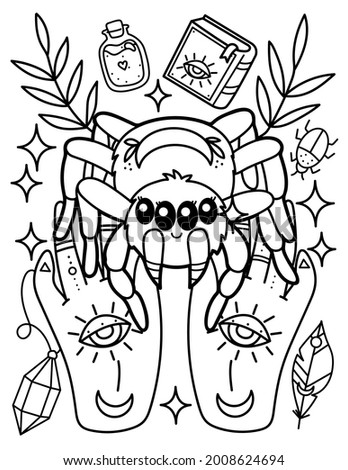 Kawaii coloring page. Cute spider in the hands. Magic, mysticism. Black and white illustration.