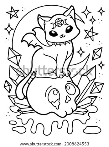 Kawaii coloring page. Mystic. The cat is sitting on the skull. Halloween. Black and white illustration.