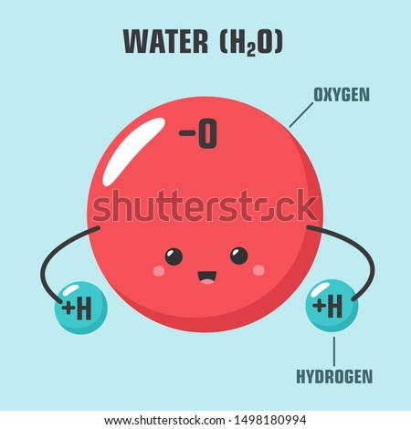 Kawaii Education science icon cartoon water molecule. Image cartoon chibi emoticon  h2o water molecule. Illustration smile water molecule character