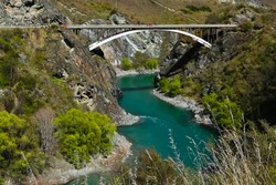 Kawarau gorge and State highway 6 bridge in Otago region near arrowtown new zealand