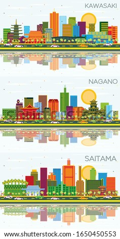 Kawasaki, Nagano and Saitama Japan City Skylines with Color Buildings, Blue Sky and Reflections. Business Travel and Tourism Concept with Modern Architecture. Cityscapes with Landmarks.