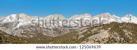 Kaweah Peaks Ridge Panorama. Sequoia National Park, Sierra Nevada, California, USA. - stock photo