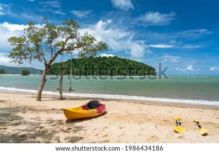 Kayak boat on the beach, fun sport activity, in Layan beach, Phuket, Thailand Stok fotoğraf ©