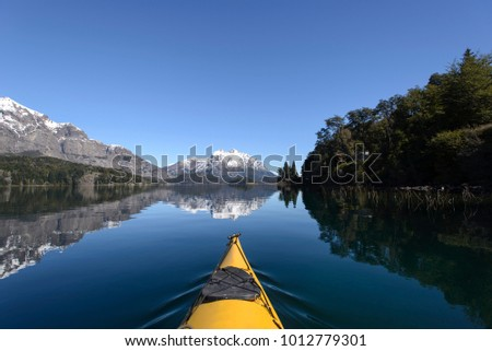 Shutterstock Kayak crossing the lakes of the Argentine Patagonia.
