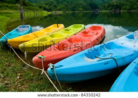 kayak floating in the lake, Thailand - stock photo