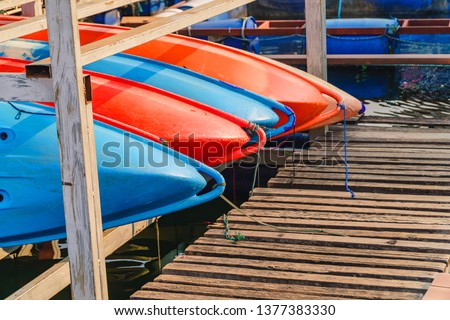 Kayak for rent at Mae Ngad Dam in Chiang Mai, Thailand. Fiberglass kayaks. Colorful kayaks.