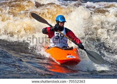 Kayak freestyle on whitewater - stock photo