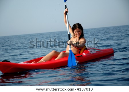 kayak in the tremiti islands - stock photo