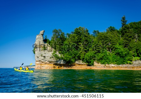 Kayak near Miners Castle, Pictured Rock National Lakeshore