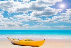 kayak on a pink paradise beach on a sunny day in Sardinia