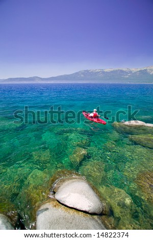 Kayak on clear water and sky on Lake Tahoe