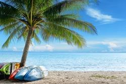 Kayak on sunny tropical beach with palm trees on Koh Kood, Island,Thailand.