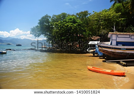 Kayak on the beach in Ilha Grande.   Ilha Grande is an island located of the coast of Rio de Janeiro state, Brazil.
