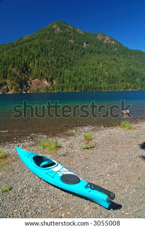 kayak on the shore of Lake Crescent on the Olympic Peninsula in Washington State