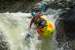 kayak raft river water whitewater waterfall white extreme sport rapid waterfall kayak jump sangay national park ecuador kayak raft river water whitewater waterfall white extreme sport rapid color colo