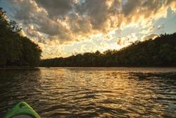 Kayak sunset on the Allegheny River near Warren, Pennsylvania.