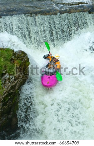 Kayak trip on the waterfalls in Norway