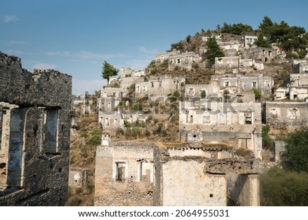 Kayaköy Abandoned ghost town, stone houses and ruins. The site of the 18th century Ancient Greek city of Karmilissos. Fethiye - TURKEY