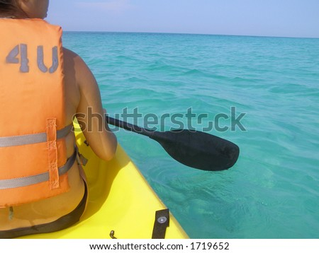 Kayaker on open water in the Gulf of Mexico.