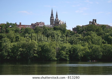 Kayakers on the Potomac, with Georgetown University in the background.