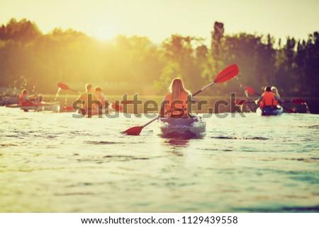 Kayaking and canoeing with family. Children on canoe. Family on kayak ride. Stok fotoğraf ©