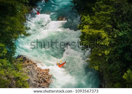 Kayaking at Futaleufu river, Patagonia - Chile.