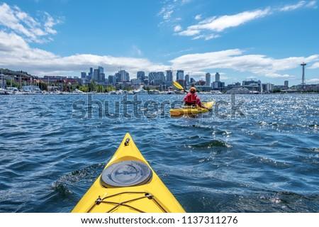 Kayaking at Lake Union in Seattle, WA
