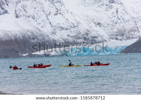Kayaking at Magdalenafjorden, Spitsbergen, Svalbard, Norway, Europe, artic summer