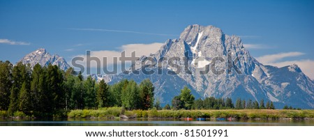 Kayaking below Mt. Moran - Tetons